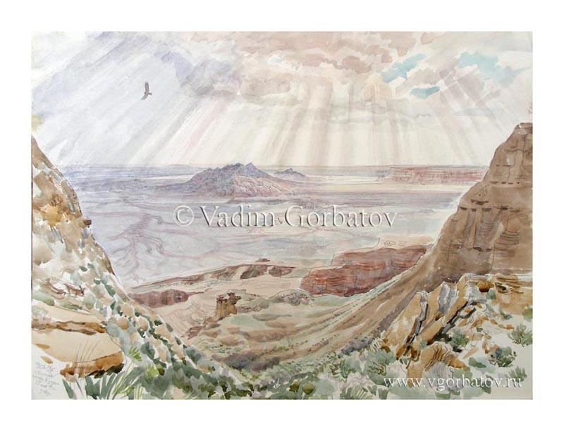 Гора Карамая. Вид с западного чинка Устюрта