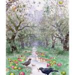 Черные дрозды в яблоневом саду
