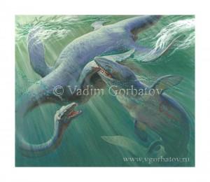 Схватка мозозавра с плезиозавром