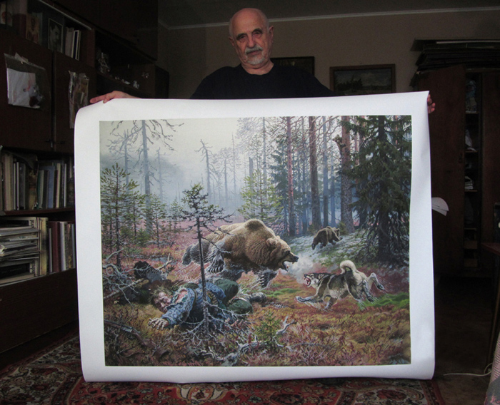 Print on canvas. The bear kills the hunter