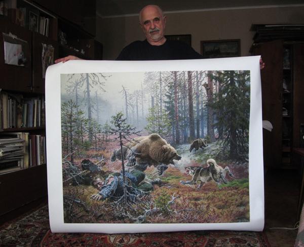 news print on canvas the bear kills the hunter