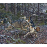 Гончак и волки. Russian piebald hound and wolves